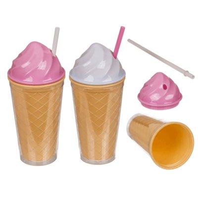 Becher Ice-Cream mit Trinkhalm ca. 21cm 2er-Set